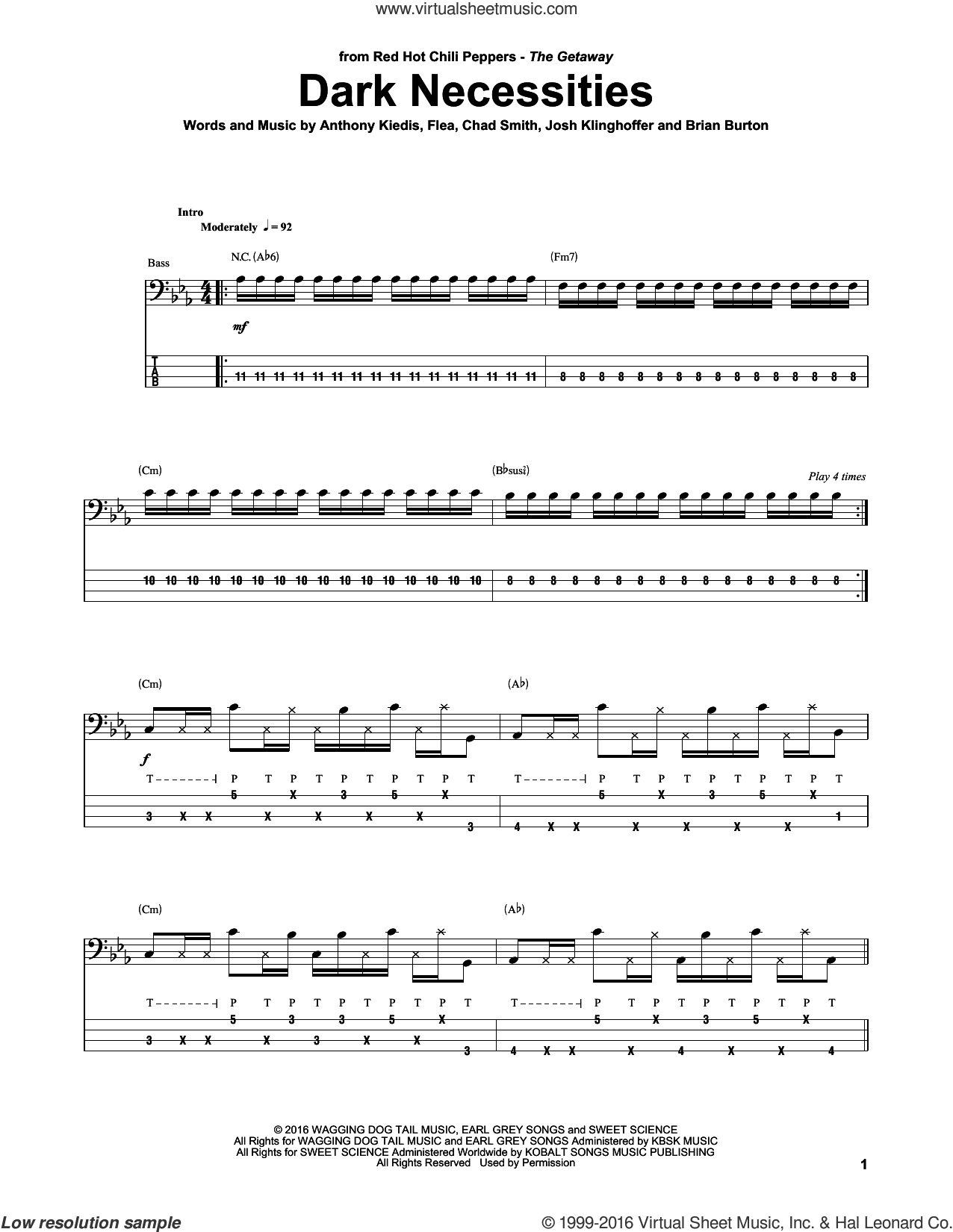 Dark Necessities sheet music for bass (tablature) (bass guitar) by Josh Klinghoffer, Red Hot Chili Peppers, Brian Burton and Flea. Score Image Preview.