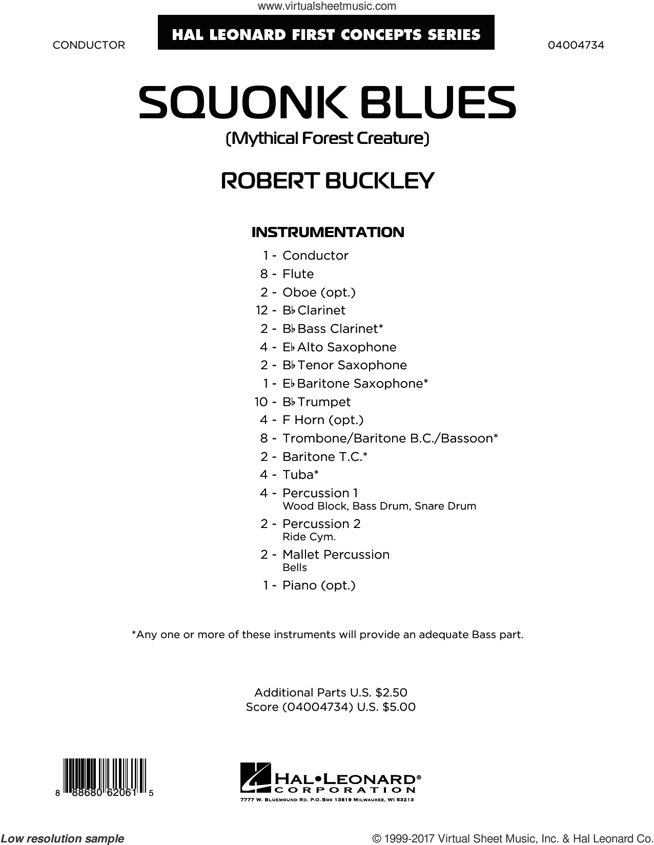 Squonk Blues (COMPLETE) sheet music for concert band by Robert Buckley, intermediate skill level
