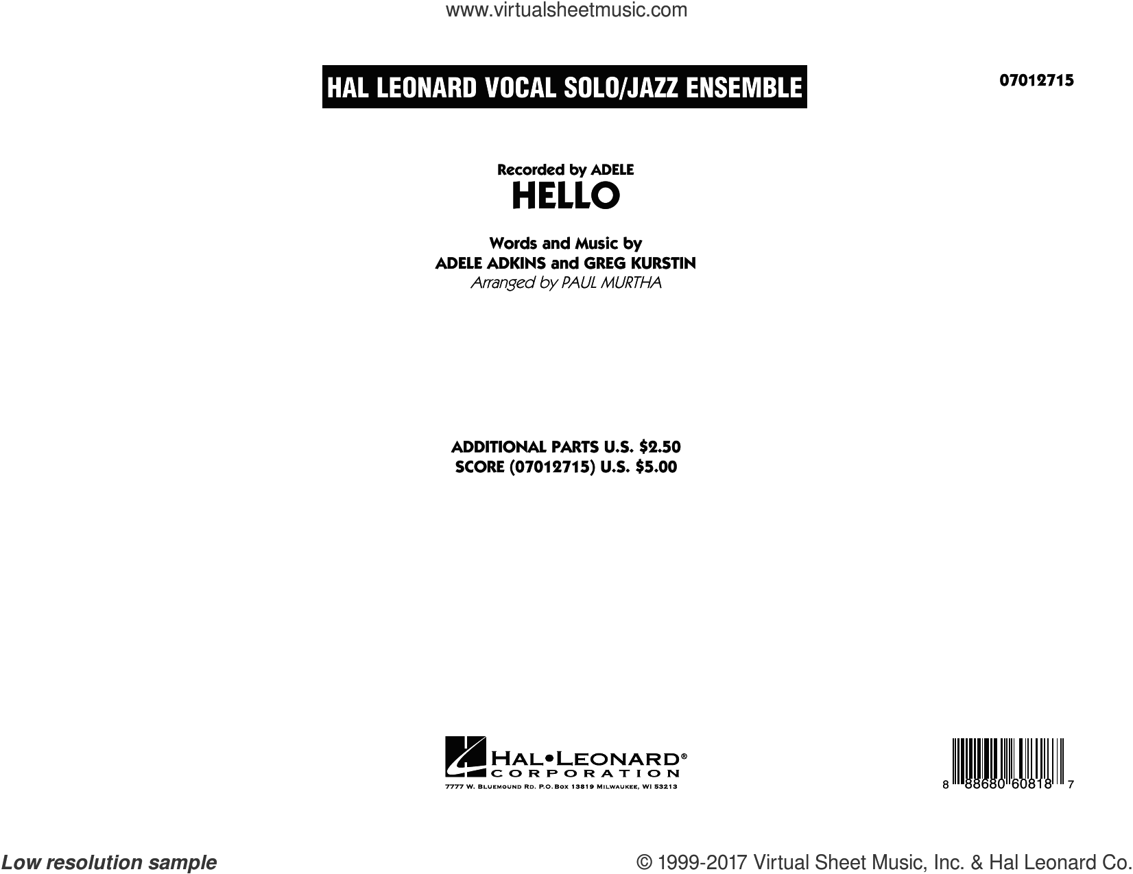 Hello (COMPLETE) sheet music for jazz band by Adele, Greg Kurstin and Paul Murtha, intermediate. Score Image Preview.