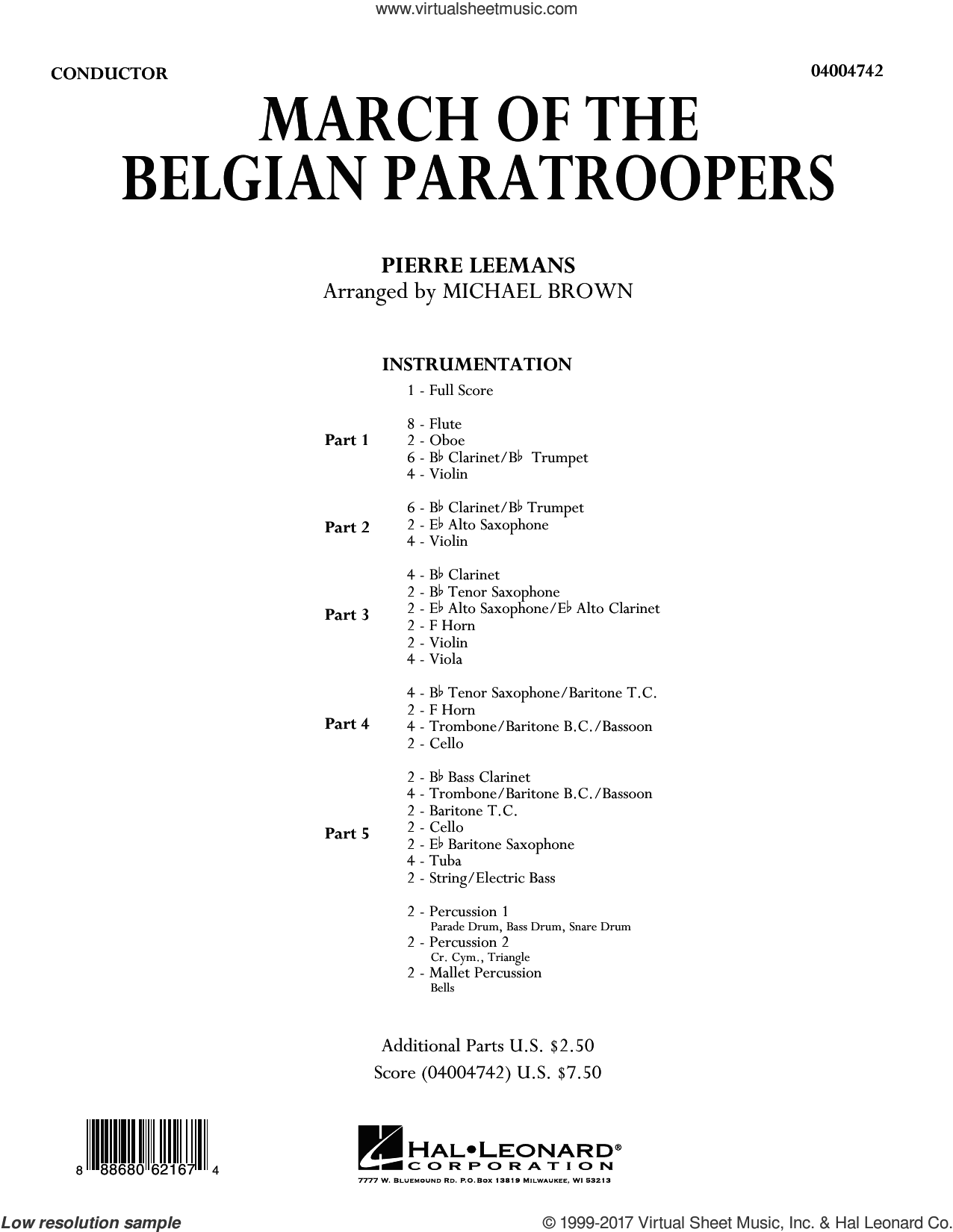 March of the Belgian Paratroopers (COMPLETE) sheet music for concert band by Michael Brown and Pierre Leemans, intermediate skill level