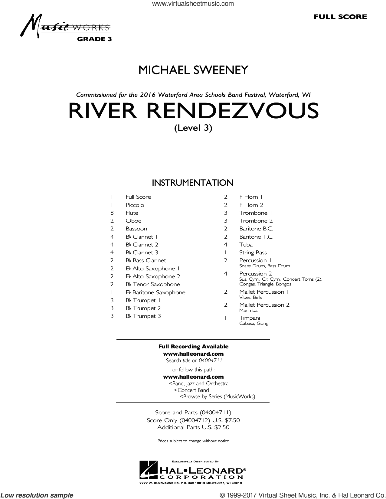 River Rendezvous (COMPLETE) sheet music for concert band by Michael Sweeney, intermediate skill level