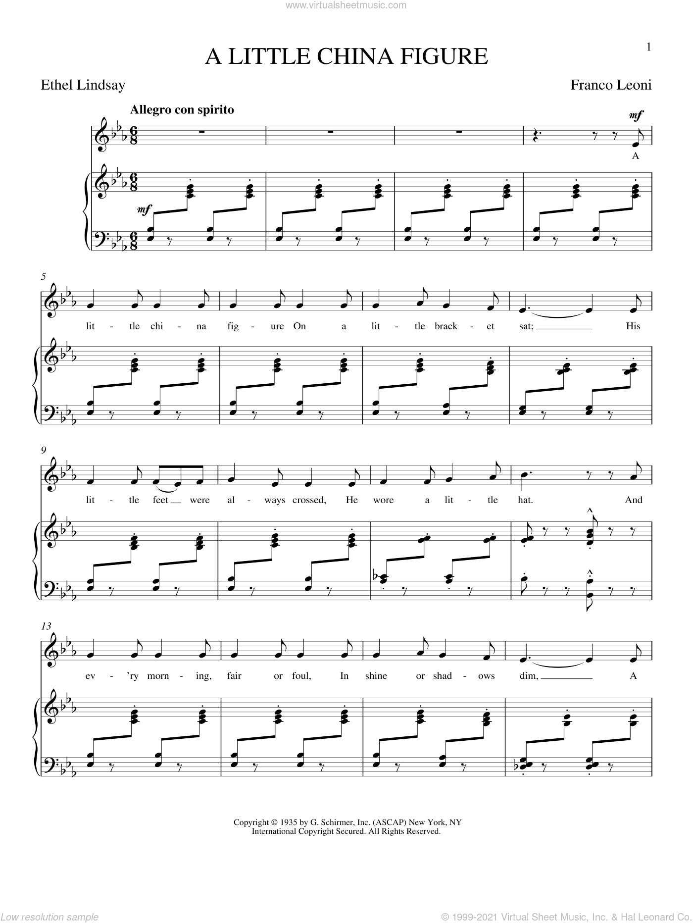 A Little China Figure sheet music for voice and piano by Franco Leoni, classical score, intermediate skill level