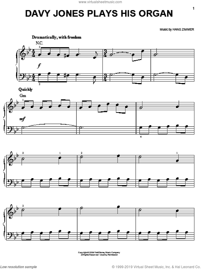 Davy Jones Plays His Organ (from Pirates Of The Caribbean: Dead Man's Chest) sheet music for piano solo by Hans Zimmer, easy skill level