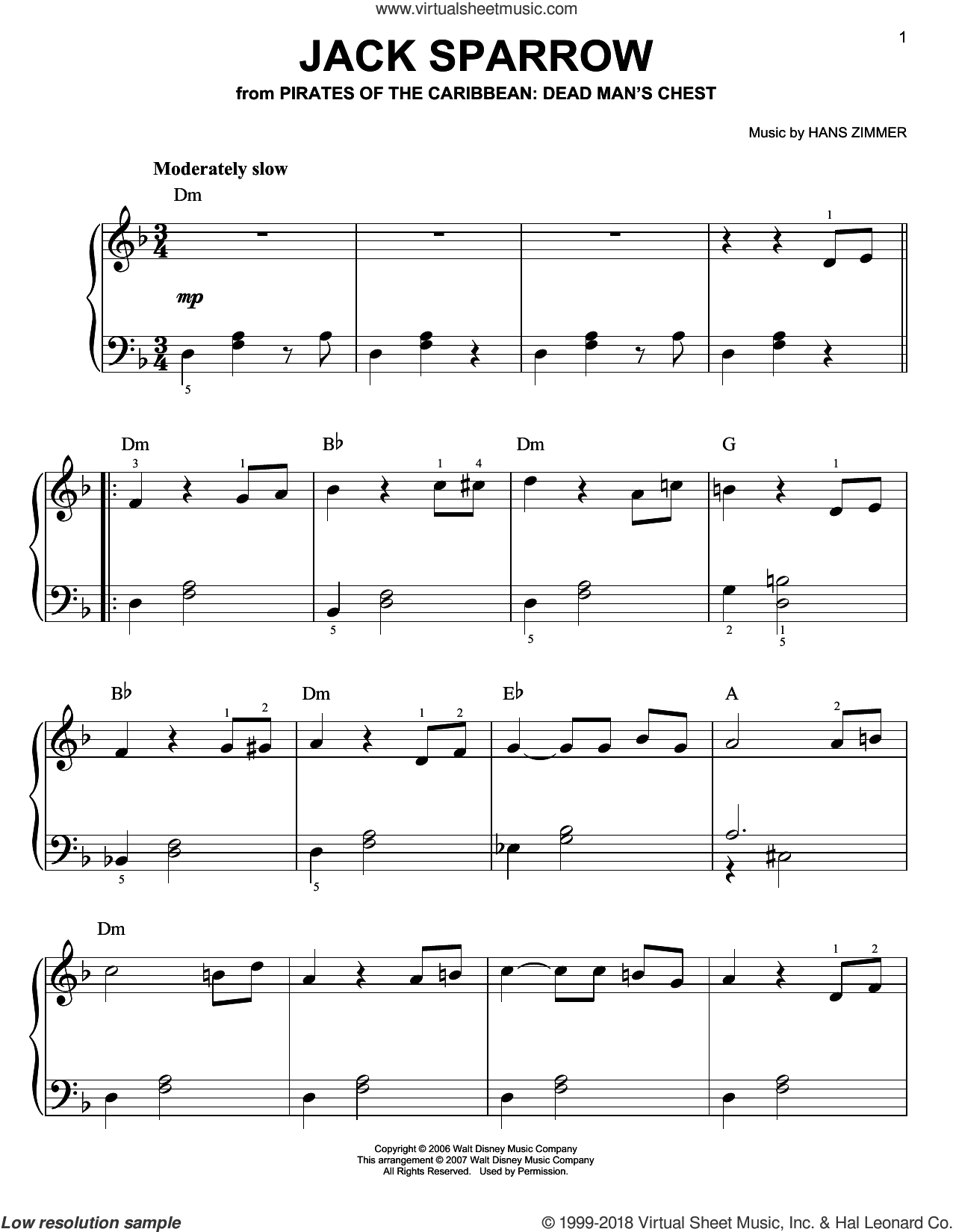 Jack Sparrow (from Pirates Of The Caribbean: Dead Man's Chest) sheet music for piano solo by Hans Zimmer, easy skill level