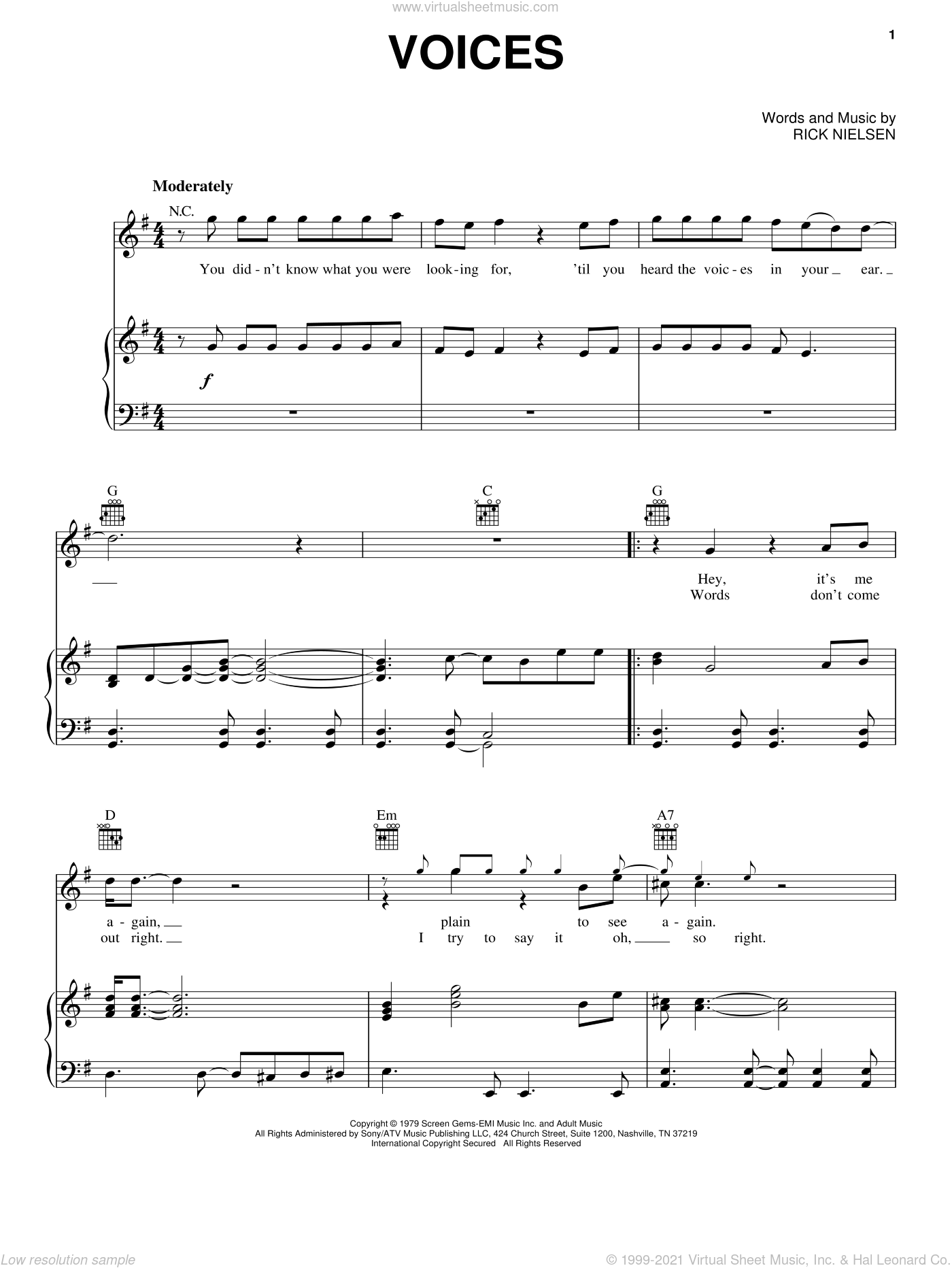 Voices sheet music for voice, piano or guitar by Rick Nielsen and Cheap Trick. Score Image Preview.