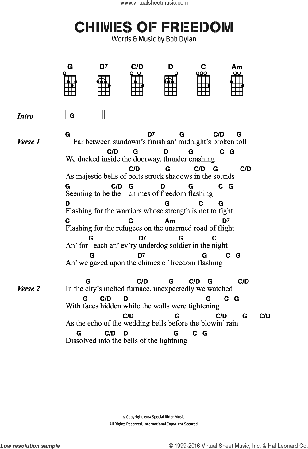 Chimes Of Freedom sheet music for voice, piano or guitar by Bob Dylan, intermediate skill level