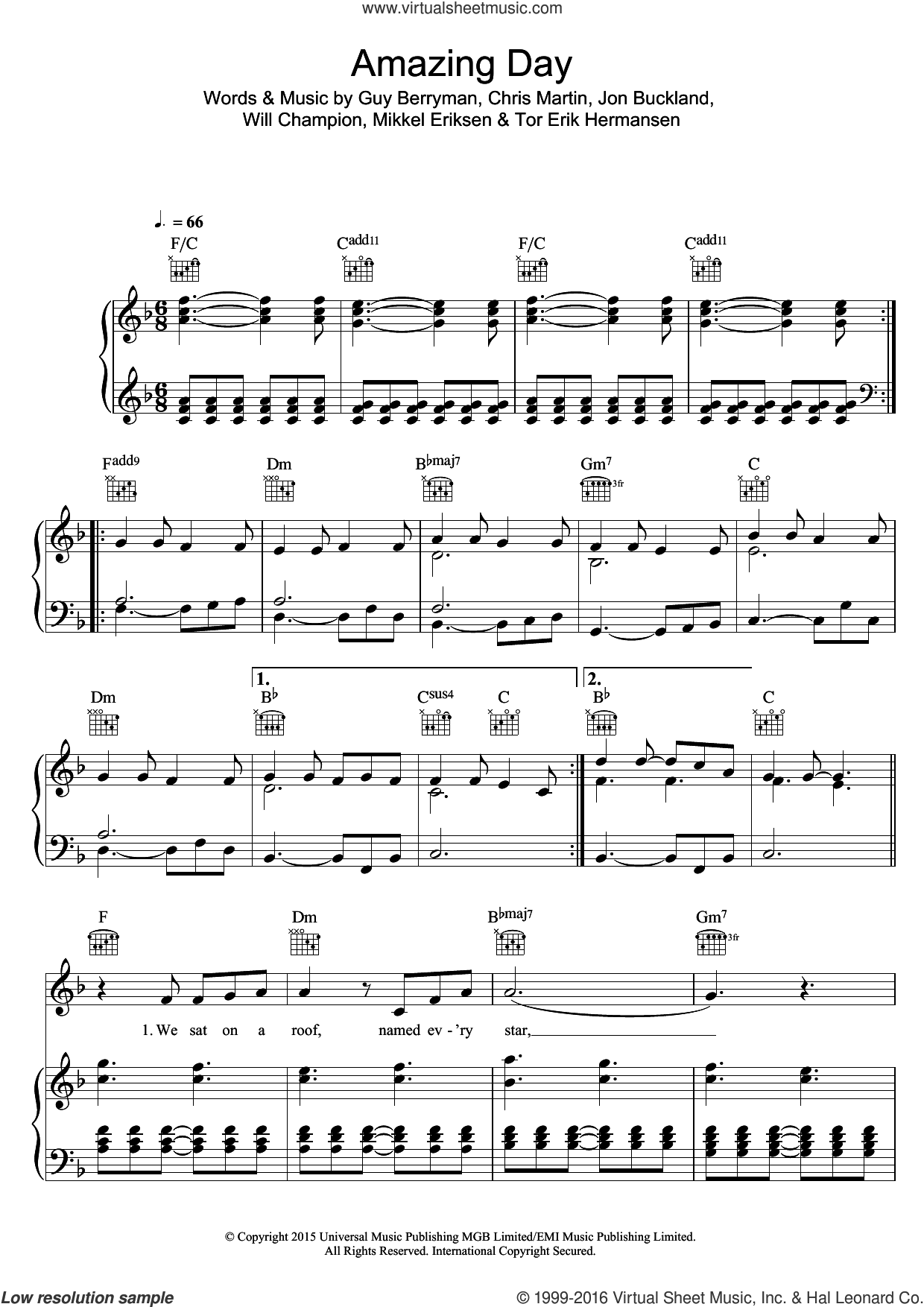 Amazing Day sheet music for voice, piano or guitar by Will Champion, Coldplay, Chris Martin, Guy Berryman, Jon Buckland, Mikkel Eriksen and Tor Erik Hermansen. Score Image Preview.