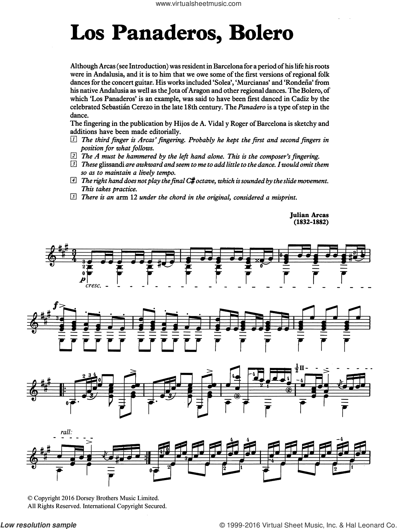 Los Panaderos, Bolero sheet music for guitar solo (chords) by Julian Arcas. Score Image Preview.