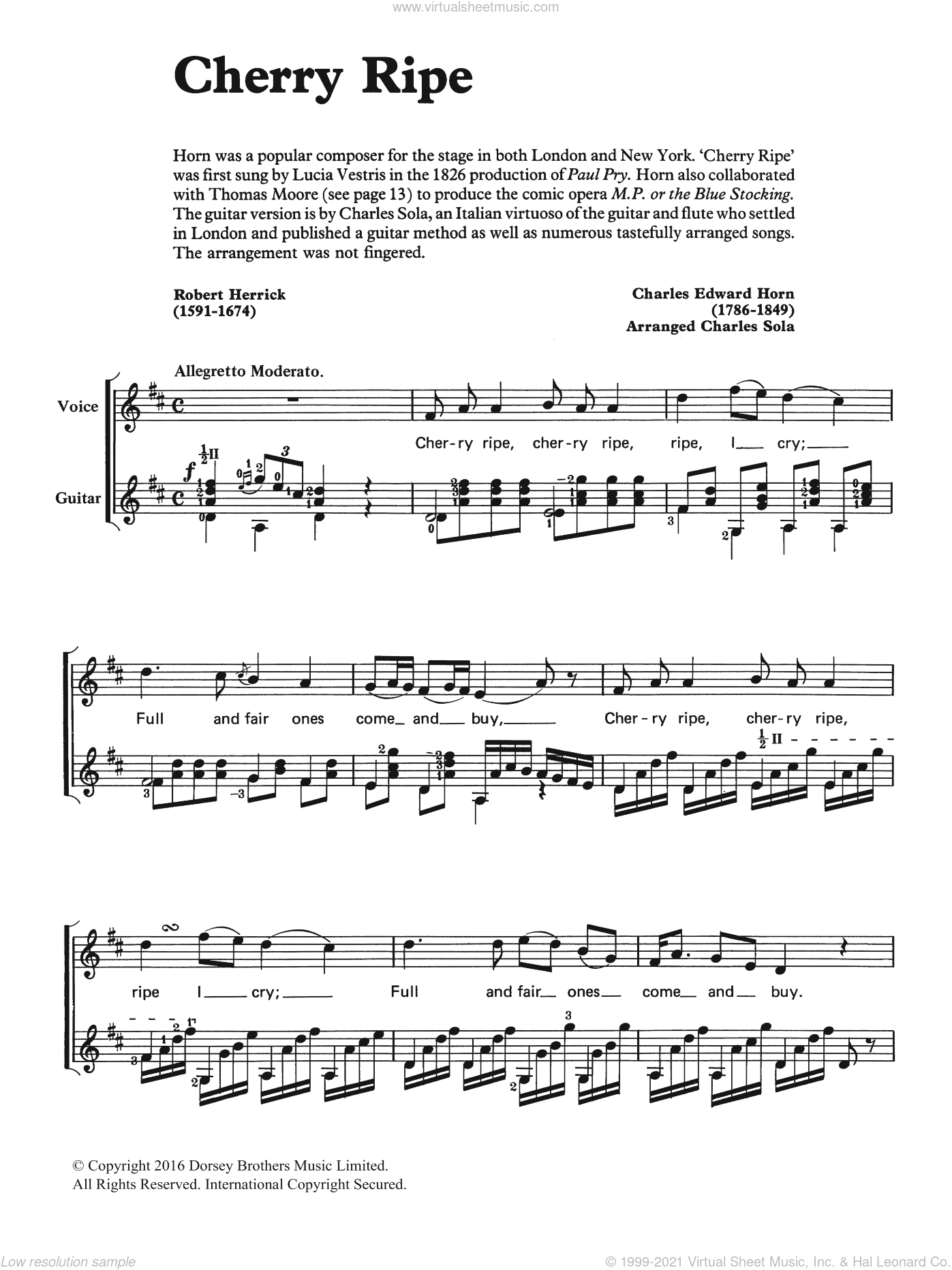 Cherry Ripe sheet music for voice, piano or guitar by Robert Herrick. Score Image Preview.