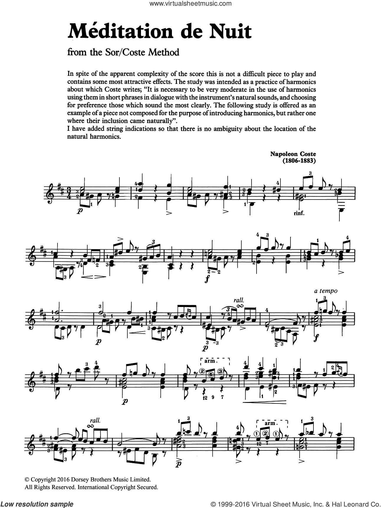 Meditation De Nuit sheet music for guitar solo (chords) by Napoleon Coste. Score Image Preview.