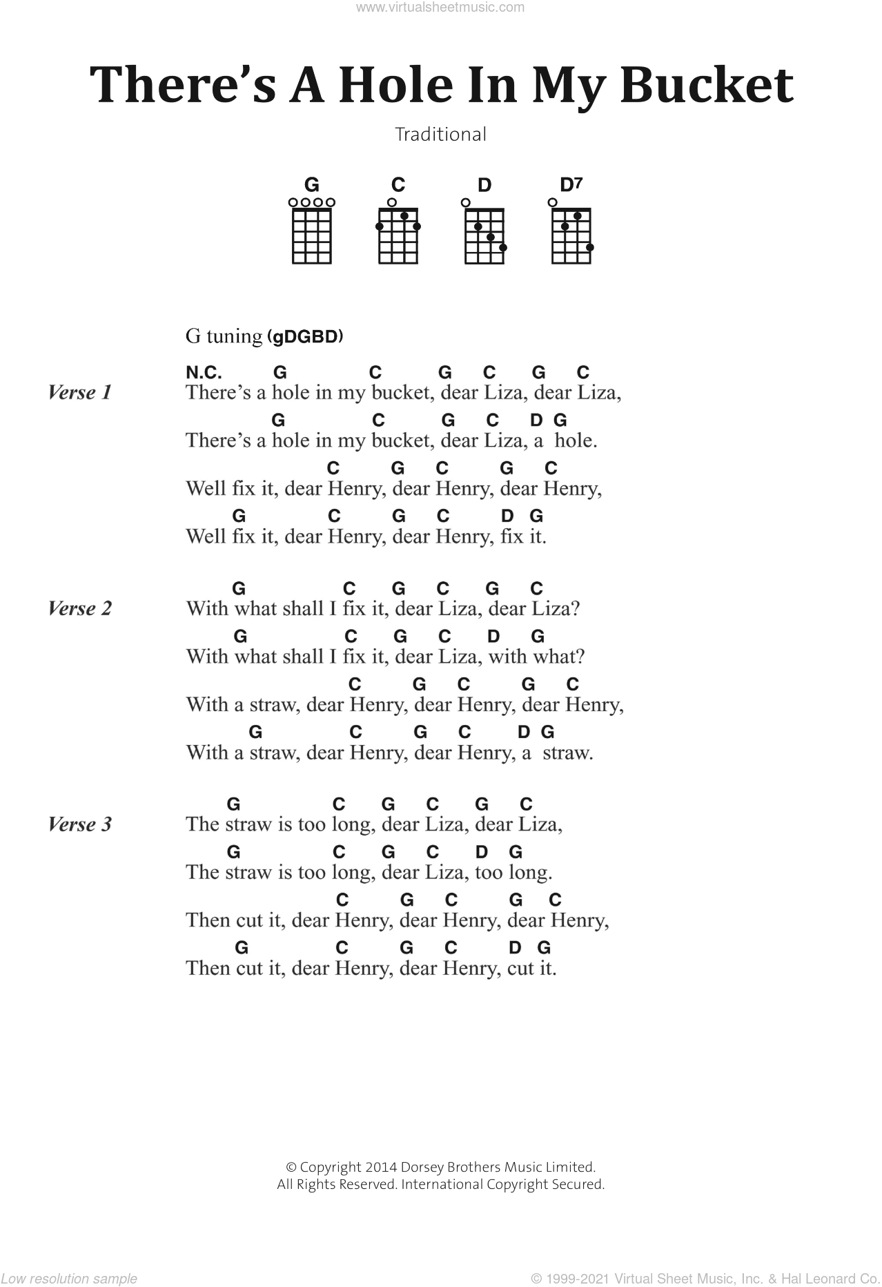 There's A Hole In My Bucket sheet music for voice, piano or guitar. Score Image Preview.