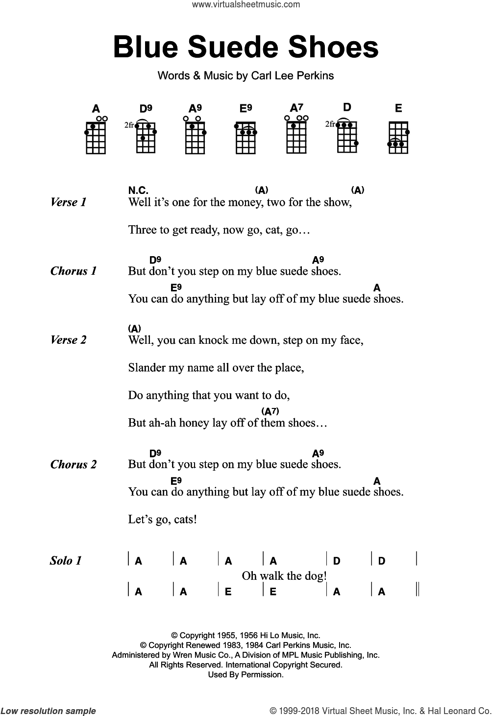 Blue Suede Shoes sheet music for guitar (chords) by Elvis Presley and Carl Perkins, intermediate. Score Image Preview.