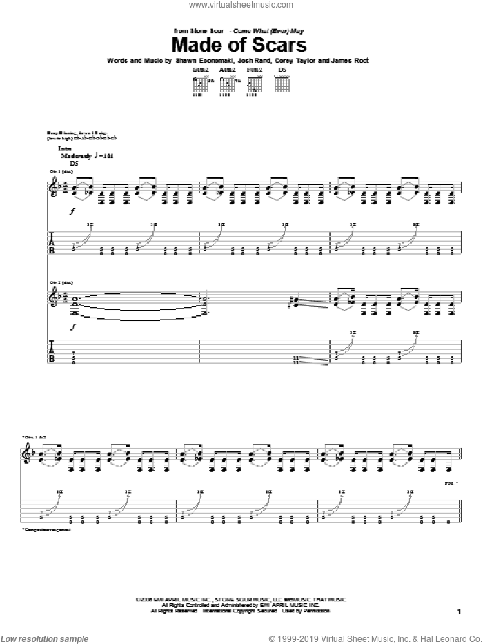 Made Of Scars sheet music for guitar (tablature) by Stone Sour, Corey Taylor, James Root, Josh Rand and Shawn Economaki, intermediate skill level