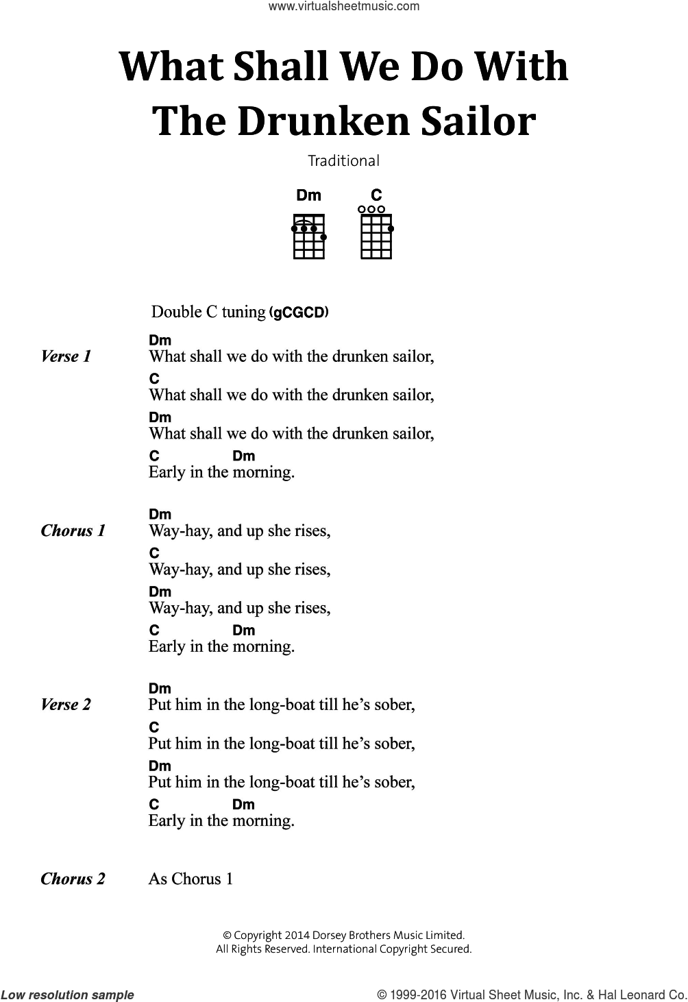 What Shall We Do With The Drunken Sailor sheet music for voice, piano or guitar, intermediate