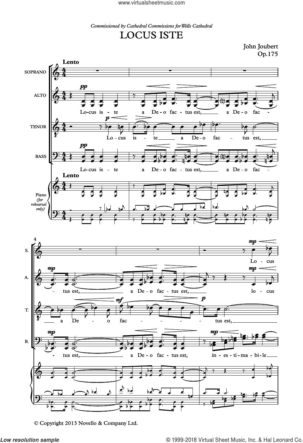 Locus Iste sheet music for choir by John Joubert. Score Image Preview.