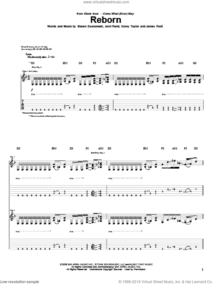 Reborn sheet music for guitar (tablature) by Stone Sour, Corey Taylor, James Root, Josh Rand and Shawn Economaki, intermediate skill level