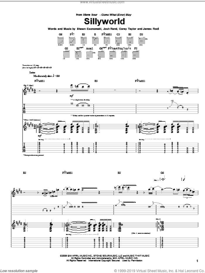 Sillyworld sheet music for guitar (tablature) by Shawn Economaki, Stone Sour, Corey Taylor and James Root. Score Image Preview.