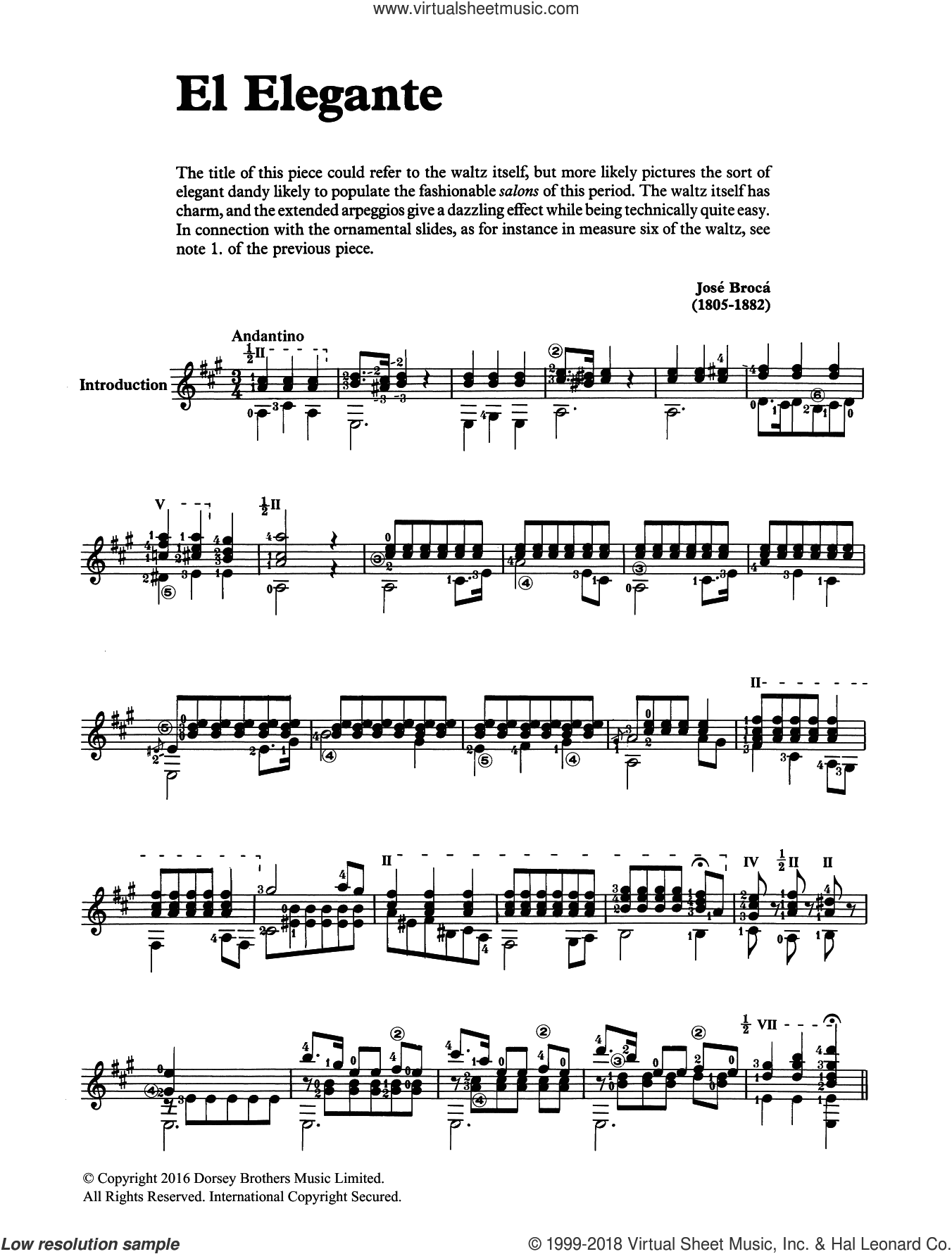 El Elegante sheet music for guitar solo (chords) by Jose Broca, classical score, easy guitar (chords). Score Image Preview.