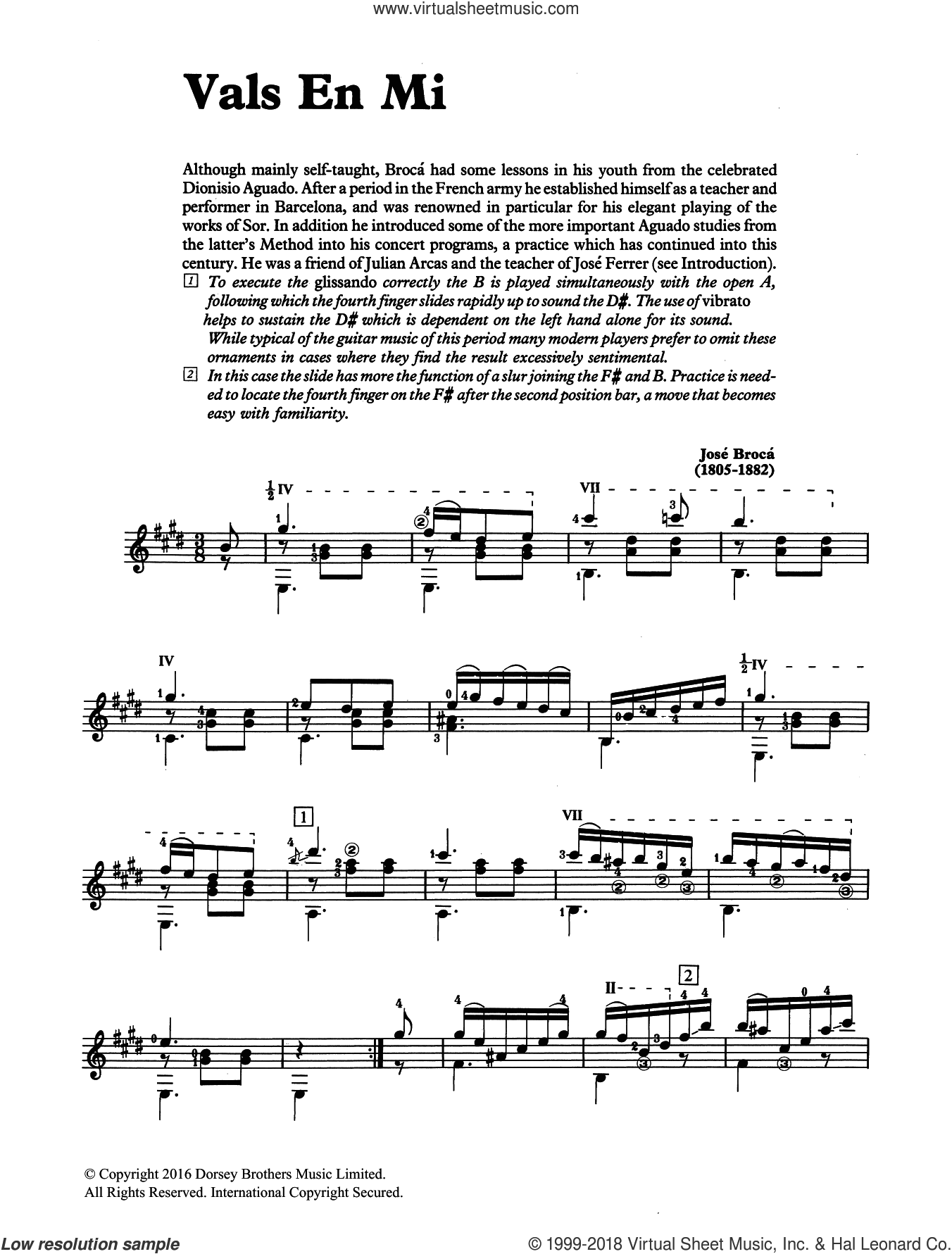 Vals En Mi sheet music for guitar solo by José Brocá and Jose Broca, classical score, intermediate skill level