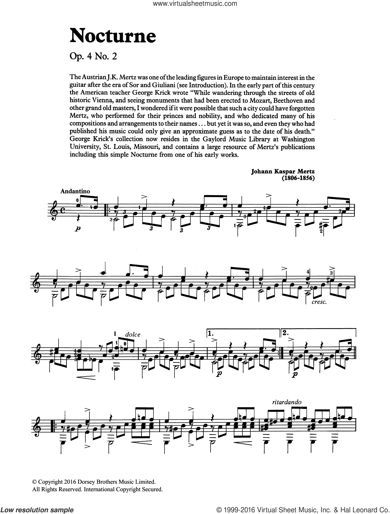 Nocturne sheet music for guitar solo (chords) by Johann Kaspar Mertz, classical score, easy guitar (chords). Score Image Preview.