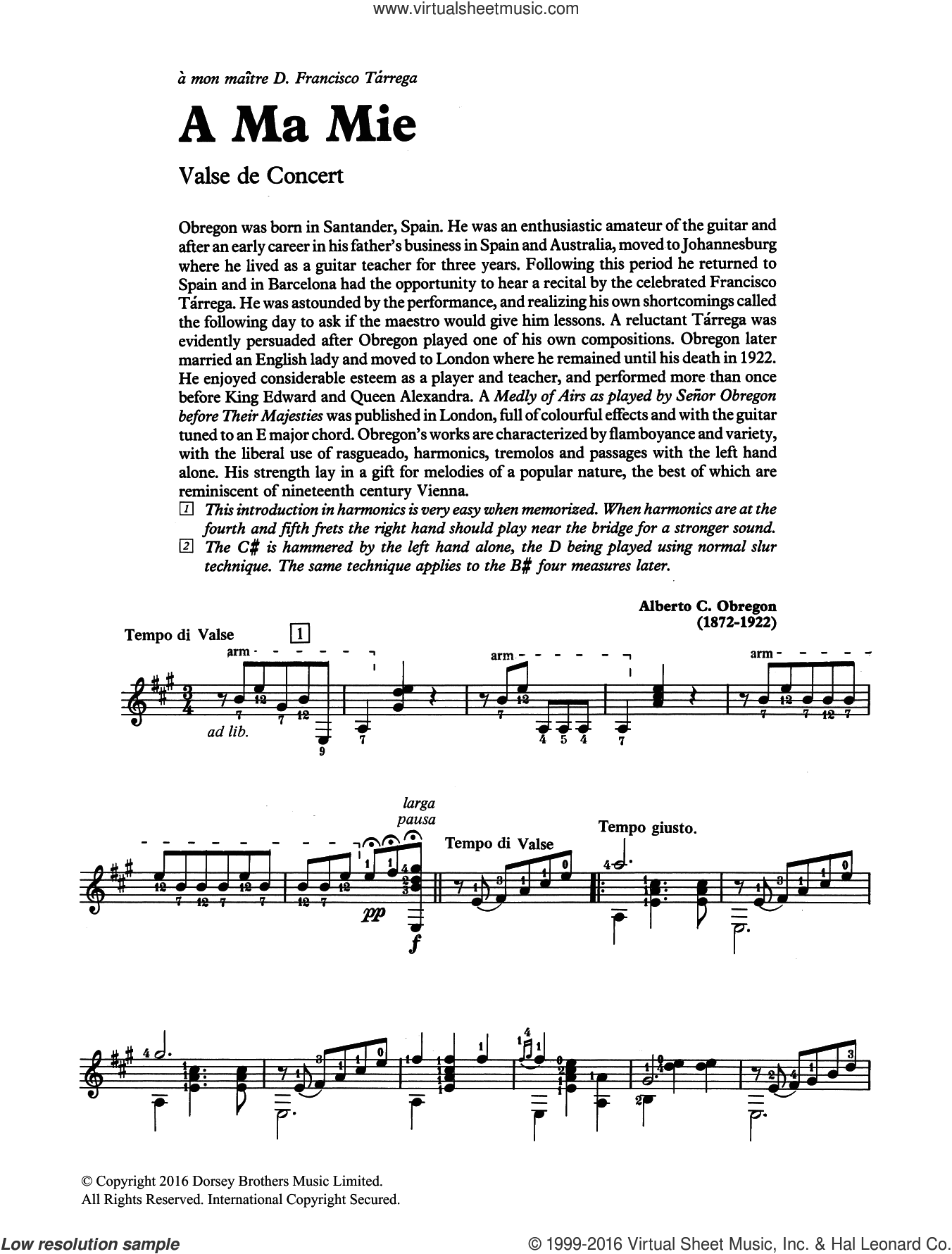 A Ma Mie sheet music for guitar solo (chords) by Alberto C. Obregon. Score Image Preview.