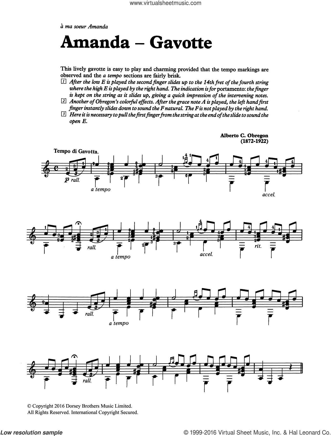 Obregon Amanda Gavotte Sheet Music For Guitar Solo Chords