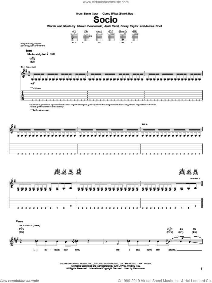 Socio sheet music for guitar (tablature) by Stone Sour, Corey Taylor, James Root, Josh Rand and Shawn Economaki, intermediate skill level