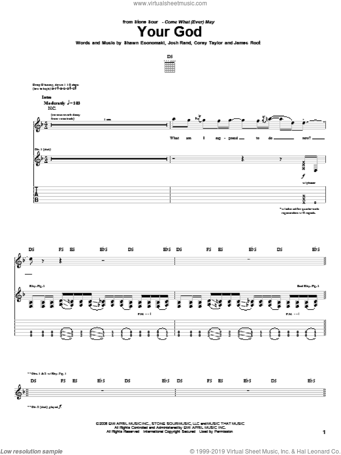 Your God sheet music for guitar (tablature) by Stone Sour. Score Image Preview.