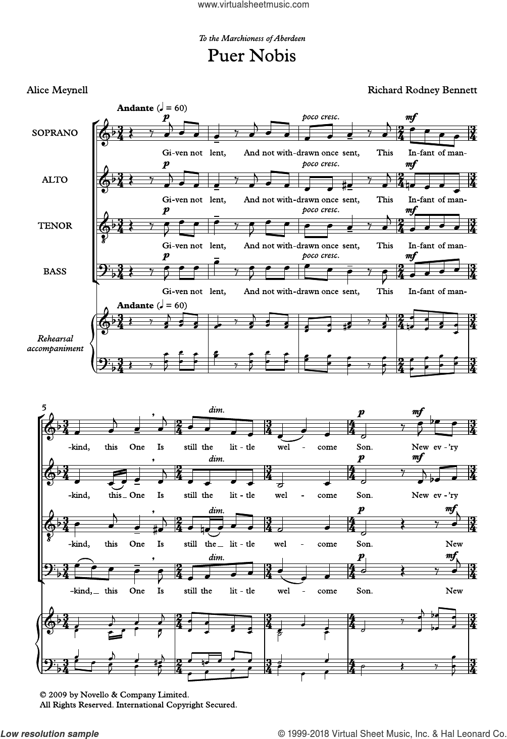 Puer Nobis sheet music for choir by Richard Bennett and Alice Maynell, classical score, intermediate. Score Image Preview.