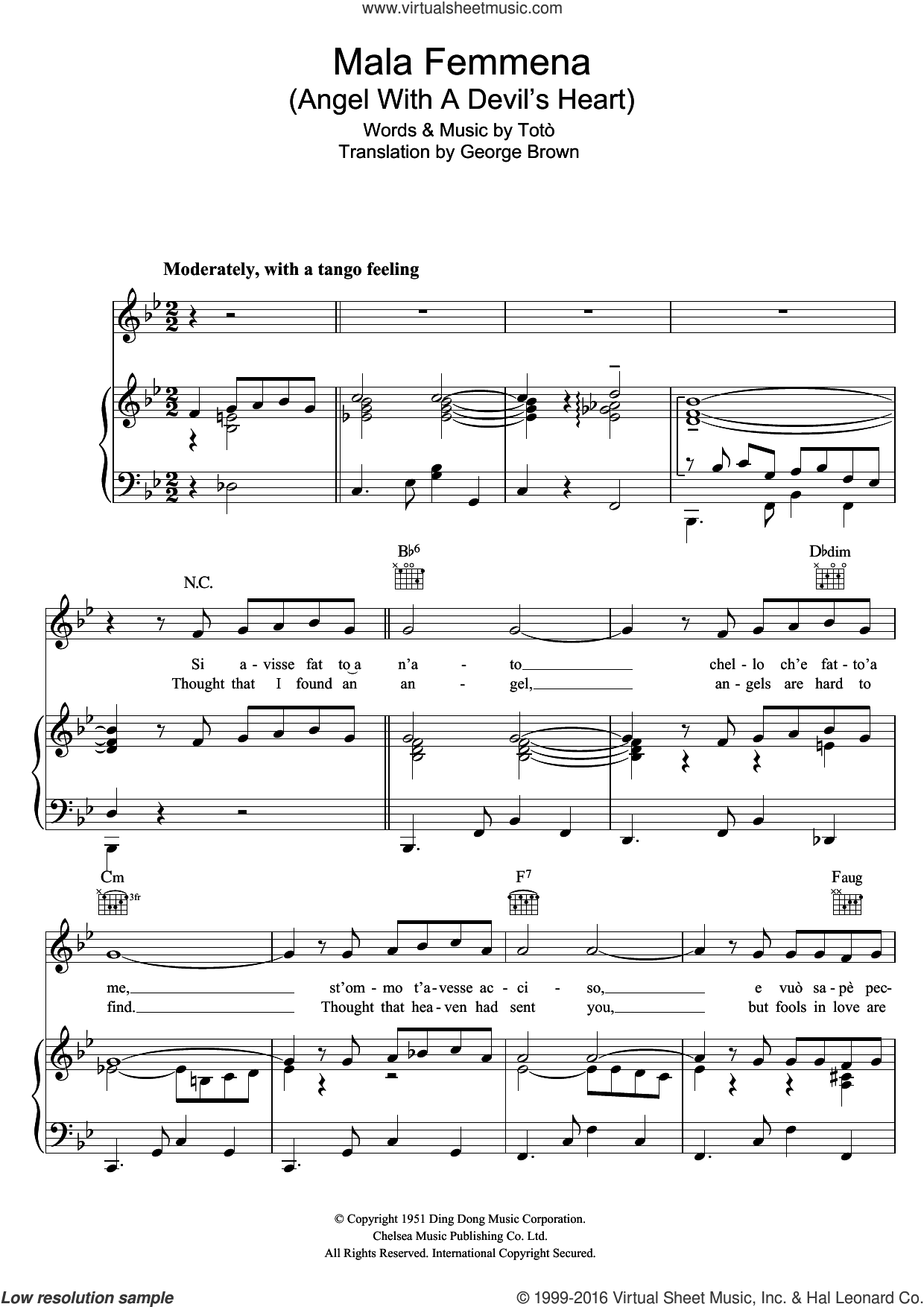 Mala Femmena sheet music for voice, piano or guitar by Connie Francis, George Brown and Toto. Score Image Preview.