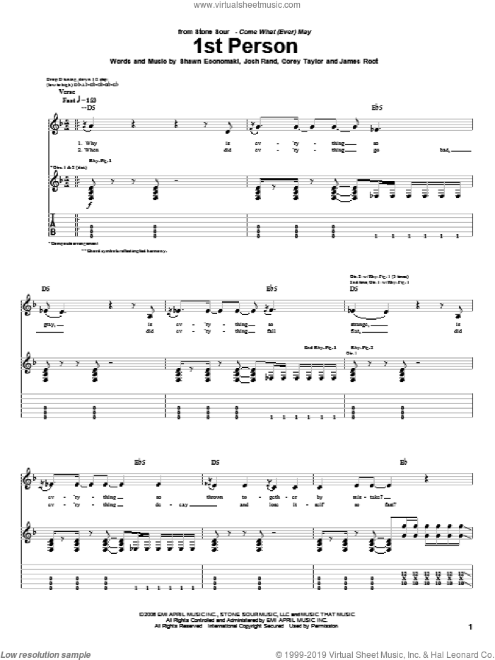 1st Person sheet music for guitar (tablature) by Shawn Economaki, Stone Sour, Corey Taylor and James Root. Score Image Preview.