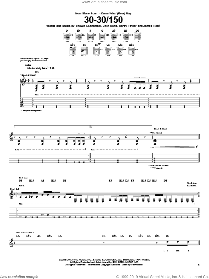 30-30/150 sheet music for guitar (tablature) by Shawn Economaki, Stone Sour, Corey Taylor and James Root. Score Image Preview.