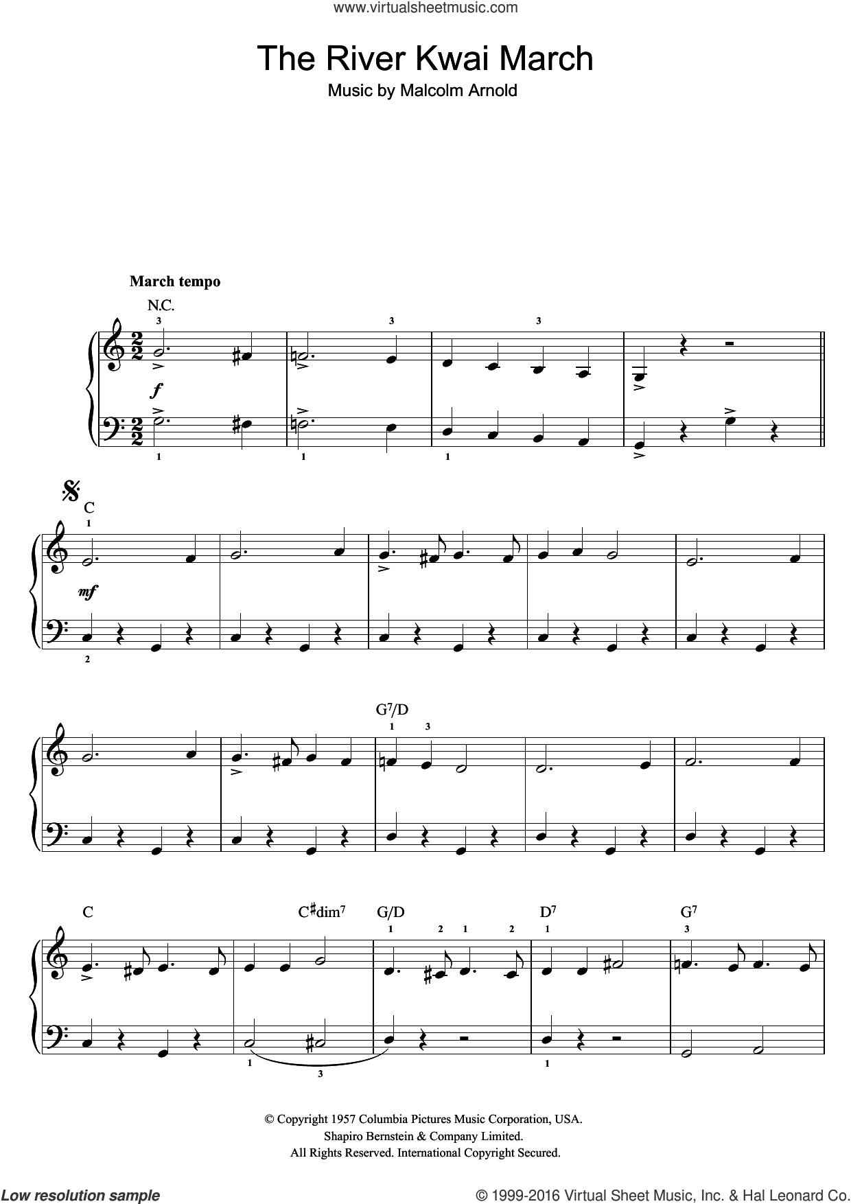 The River Kwai March (from 'The Bridge On The River Kwai') sheet music for voice, piano or guitar by Malcolm Arnold, intermediate skill level