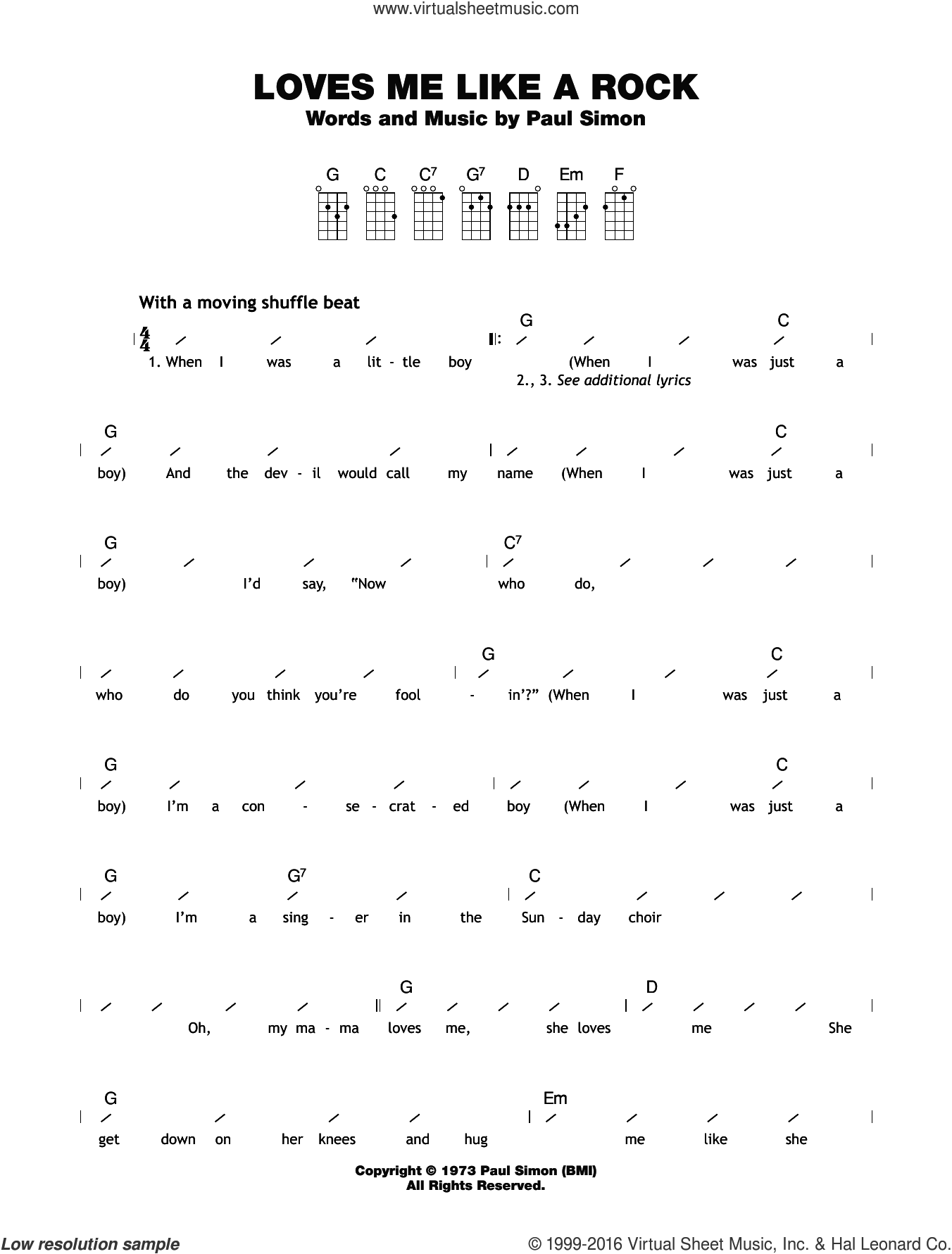 Loves Me Like A Rock sheet music for ukulele (chords) by Paul Simon. Score Image Preview.