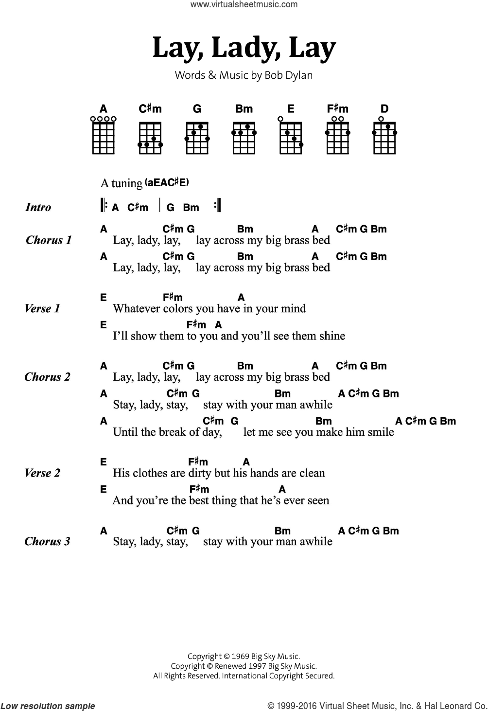 Lay, Lady, Lay sheet music for voice, piano or guitar by Bob Dylan