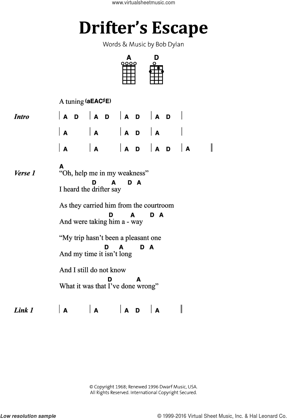 Drifter's Escape sheet music for voice, piano or guitar by Bob Dylan, intermediate skill level