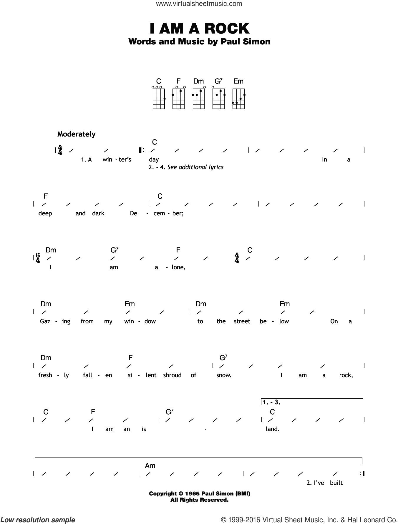 I Am A Rock sheet music for ukulele (chords) by Simon & Garfunkel and Paul Simon, intermediate skill level
