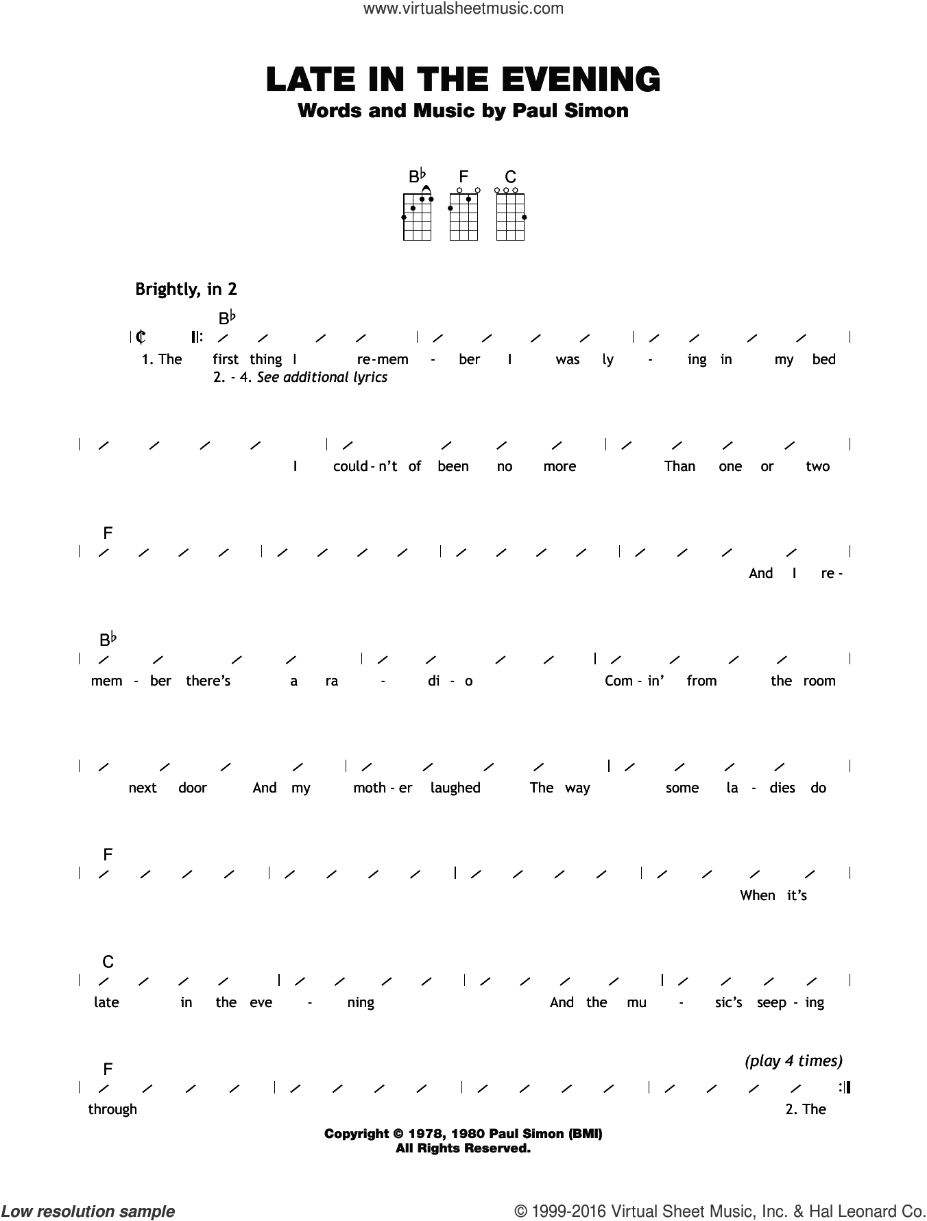 Simon Late In The Evening Sheet Music For Ukulele Chords