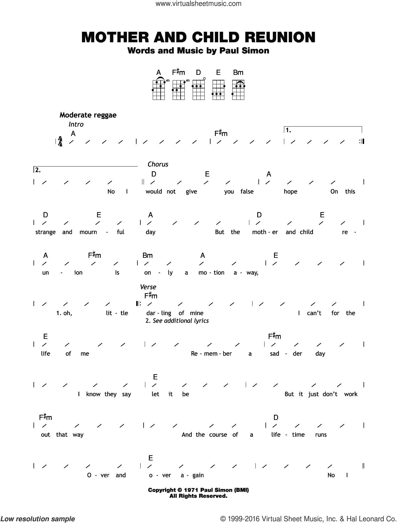 Mother And Child Reunion sheet music for ukulele (chords) by Paul Simon, intermediate. Score Image Preview.