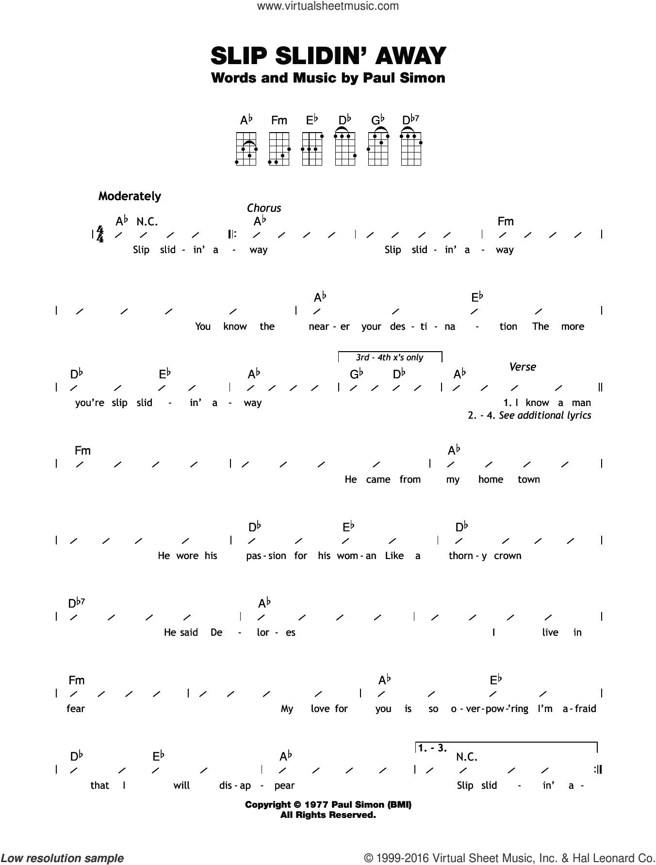 Slip sliding away guitar chords images guitar chords examples simon slip slidin away sheet music for ukulele chords slip slidin away sheet music for ukulele hexwebz Images