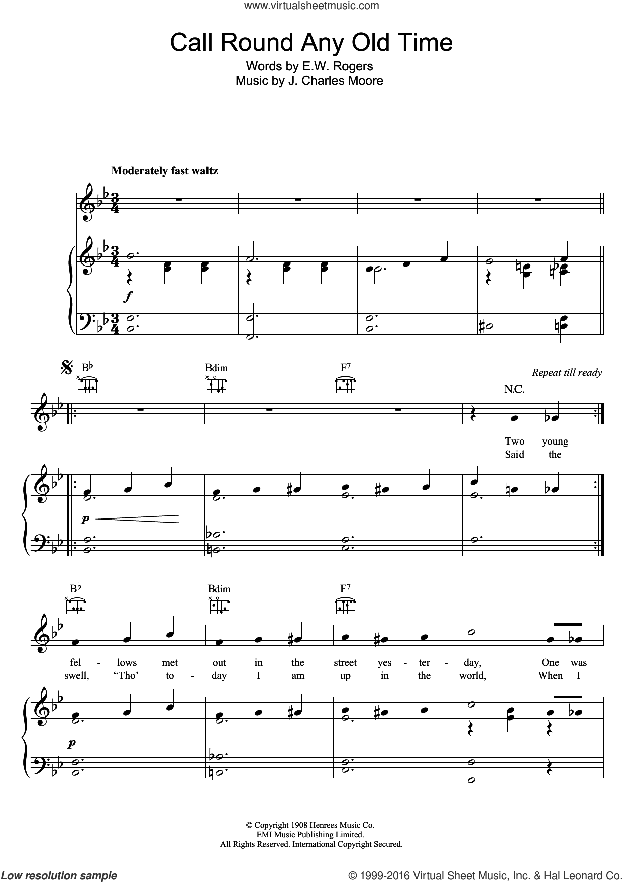 Call Round Any Old Time sheet music for voice, piano or guitar by Victoria Monks, E.W. Rogers and J. Charles Moore, intermediate skill level