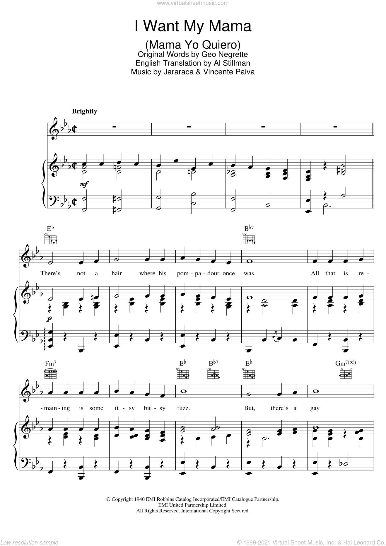 I Want My Mama (Mama Yo Quiero) sheet music for voice, piano or guitar by The Andrews Sisters and Al Stillman, intermediate voice, piano or guitar. Score Image Preview.