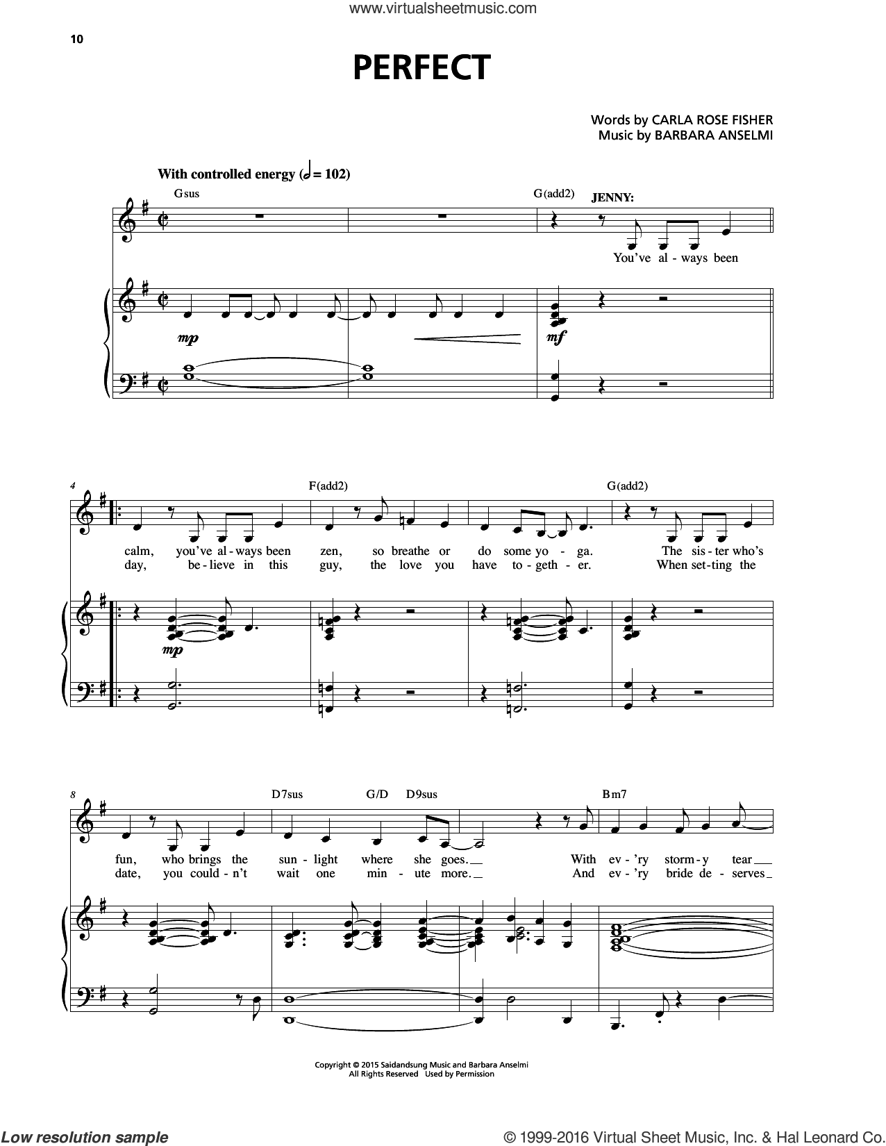 Perfect sheet music for voice and piano by Barbara Anselmi & Brian Hargrove, Barbara Anselmi, Barbara Anselmi & Carla Rose Fisher, Brian Hargrove and Carla Rose Fisher, intermediate skill level