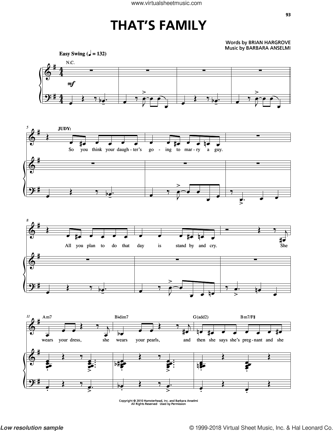That's Family sheet music for voice and piano by Barbara Anselmi & Brian Hargrove and Barbara Anselmi, intermediate. Score Image Preview.