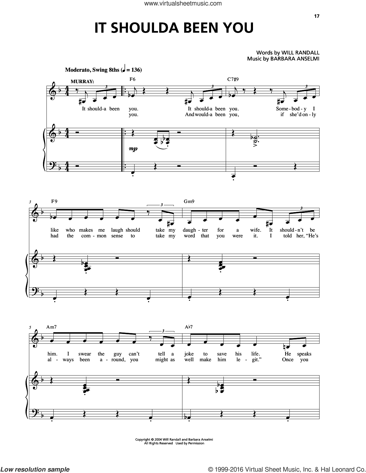 It Shoulda Been You sheet music for voice and piano by Barbara Anselmi & Brian Hargrove and Barbara Anselmi. Score Image Preview.