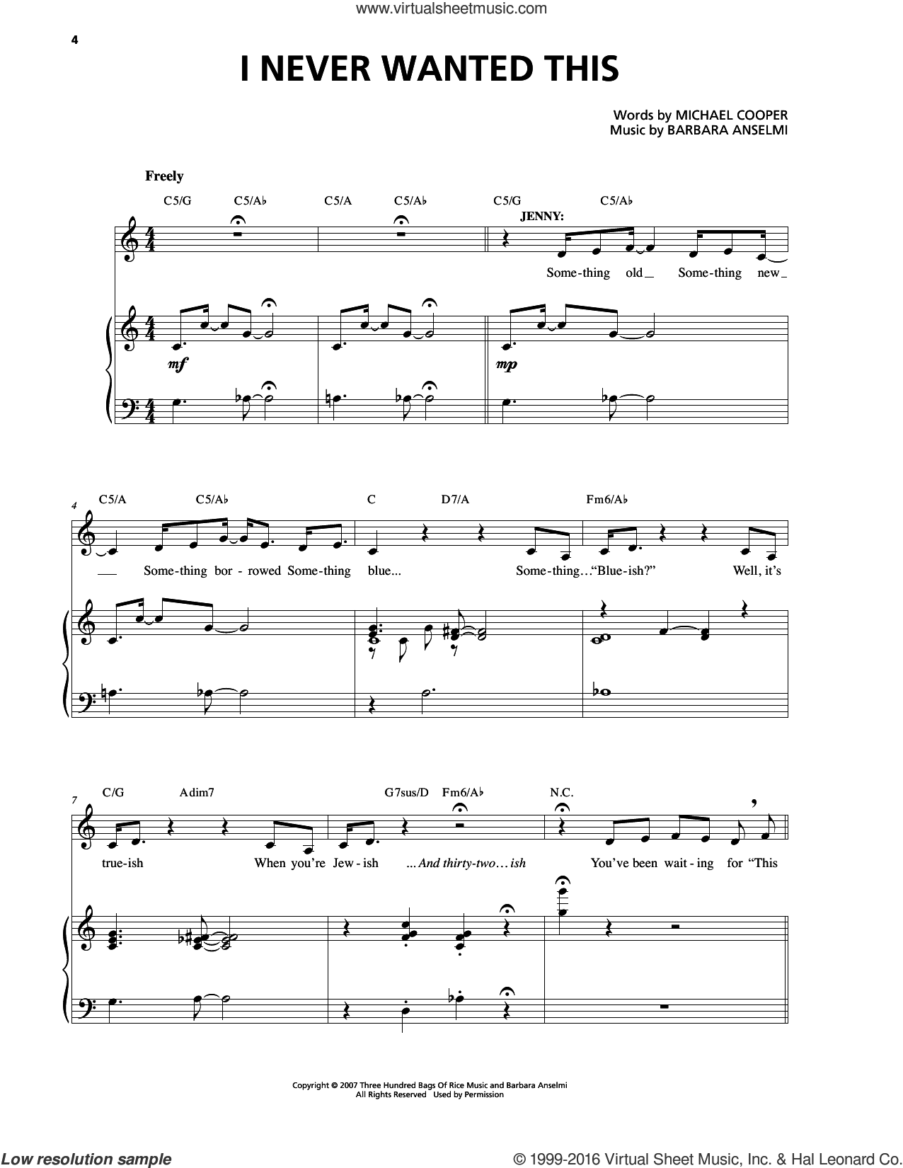 I Never Wanted This sheet music for voice and piano by Barbara Anselmi & Brian Hargrove and Barbara Anselmi. Score Image Preview.