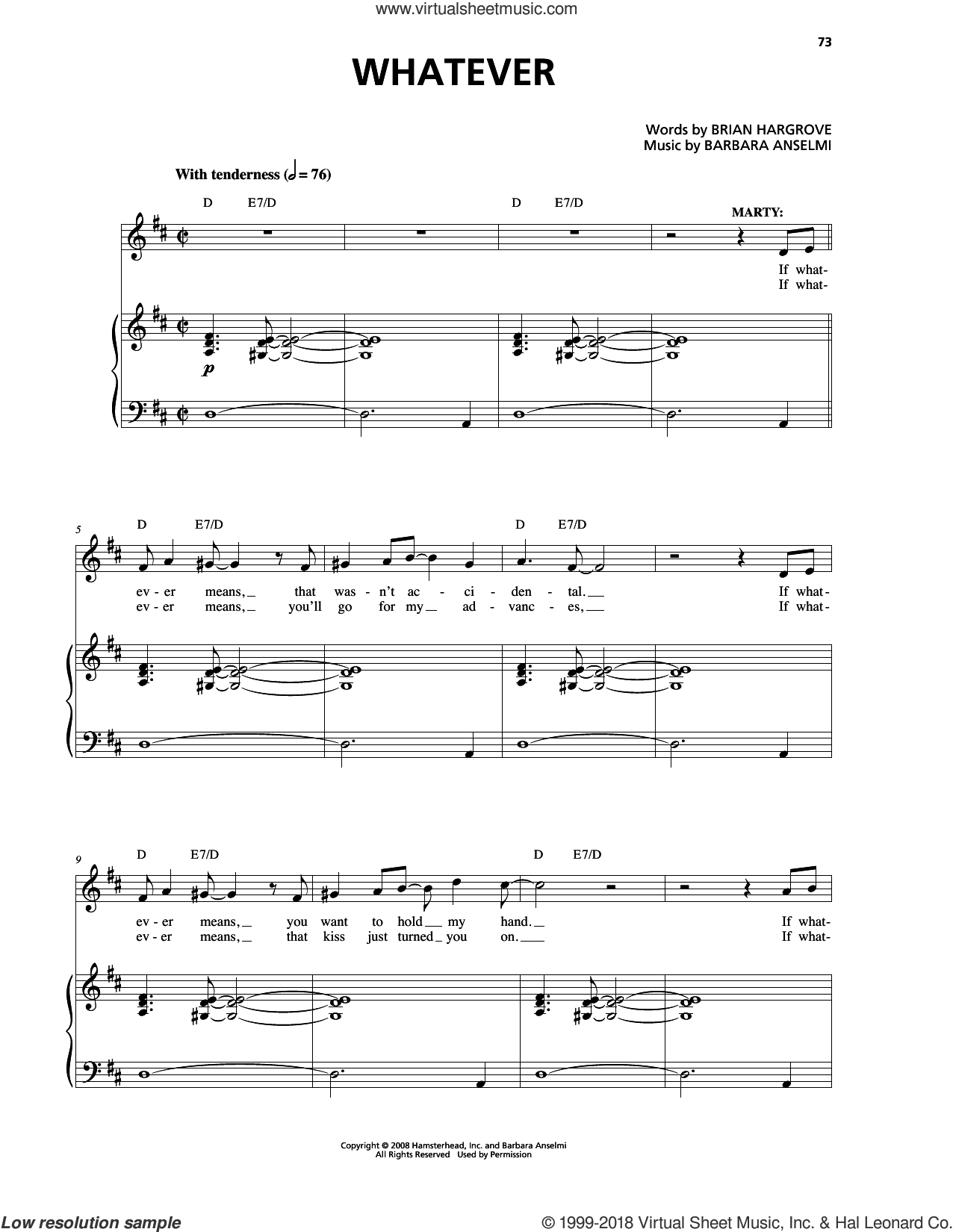 Whatever sheet music for voice and piano by Barbara Anselmi & Brian Hargrove and Barbara Anselmi, intermediate. Score Image Preview.