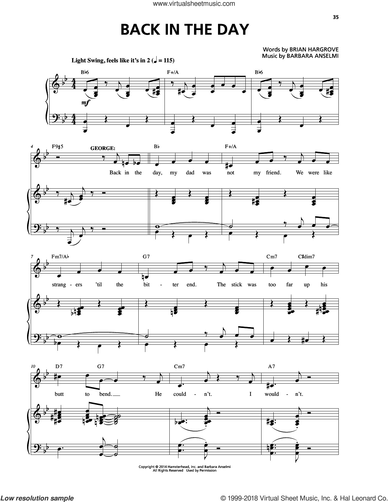 Back In The Day sheet music for voice and piano by Barbara Anselmi & Brian Hargrove and Barbara Anselmi, intermediate. Score Image Preview.