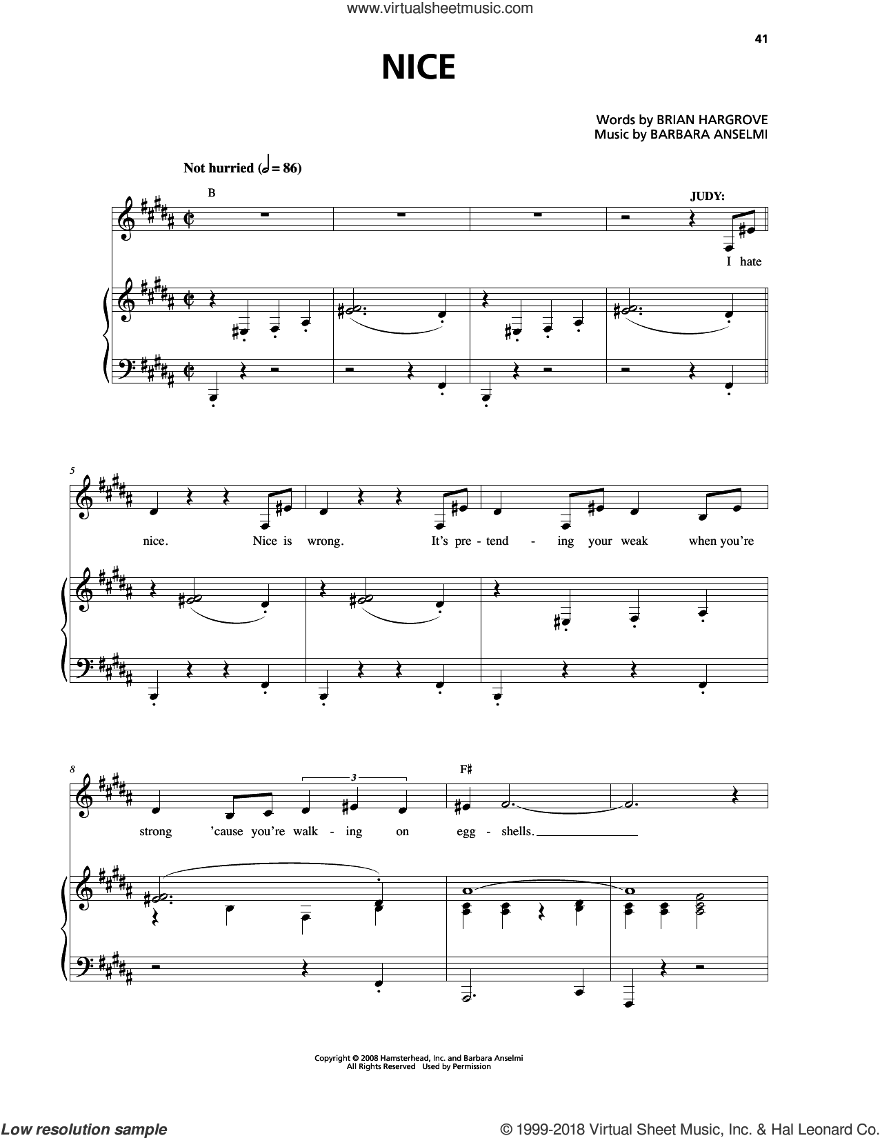 Nice sheet music for voice and piano by Barbara Anselmi & Brian Hargrove, Barbara Anselmi and Brian Hargrove, intermediate skill level