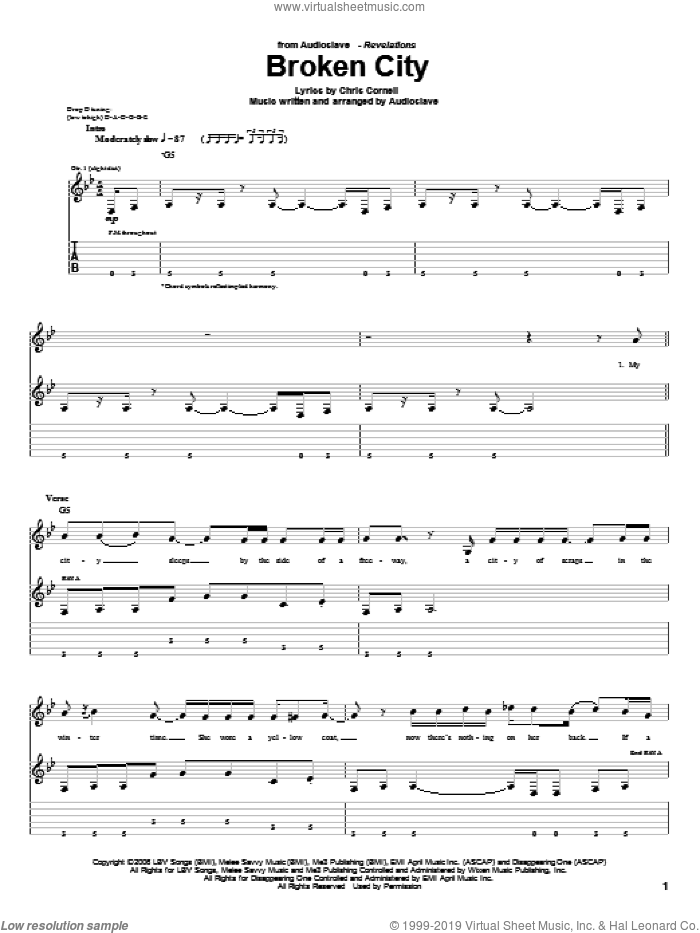 Broken City sheet music for guitar (tablature) by Audioslave and Chris Cornell, intermediate. Score Image Preview.